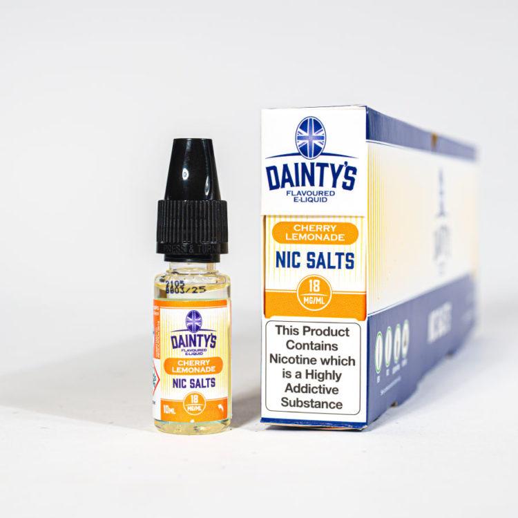 Eco Vape Dainty's Cherry lemonade Nic Salt 10ml Orange White Background