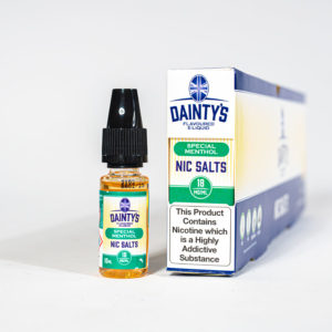 Eco Vape Dainty's Special Menthol Nic Salt 10ml Green White Background