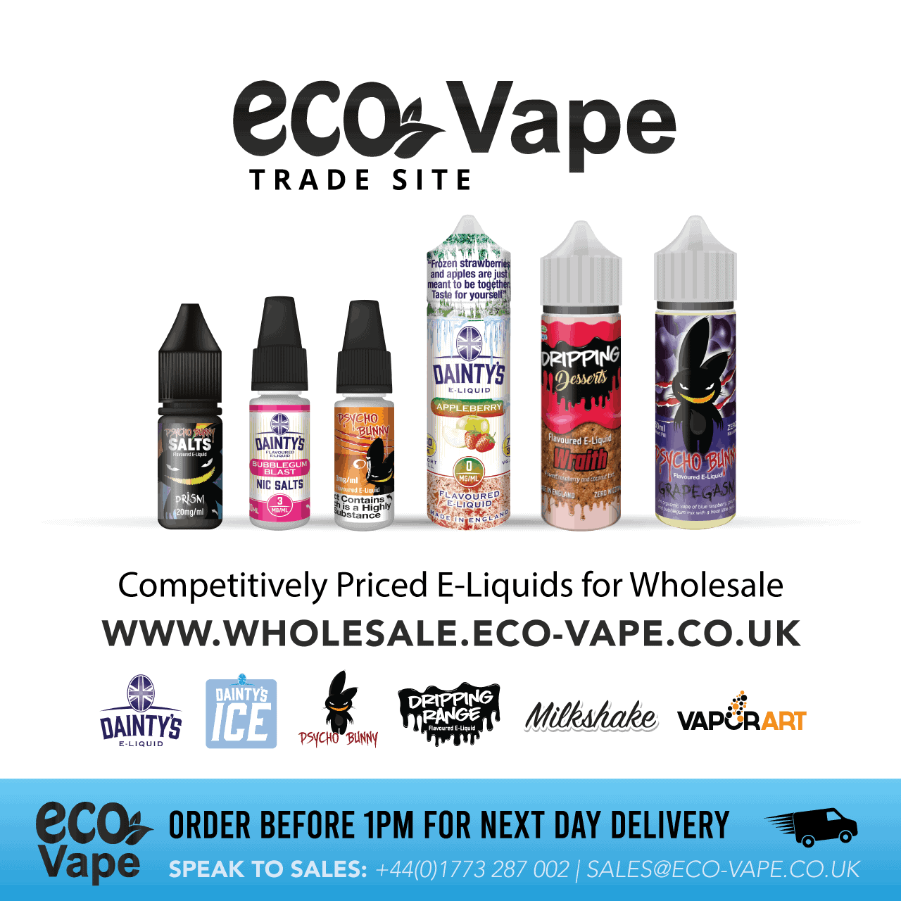 Order your favourite E-Liquids and Hardware faster, easier, and at your convenience at wholesale.eco-vape.co.uk