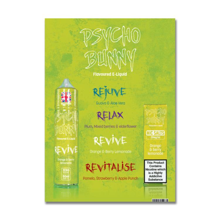 FREE POS Psycho Bunny new flavours menu A5